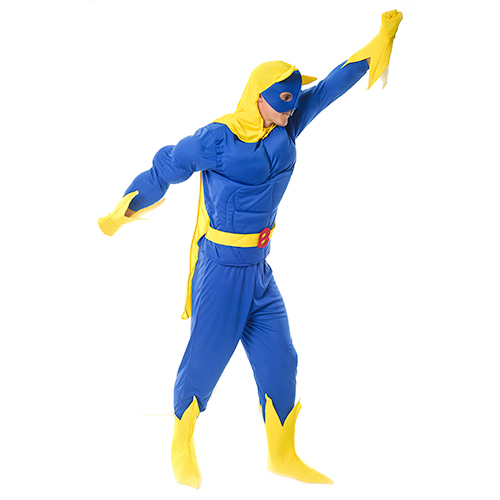 Seven piece banana man costume in blue and yellow