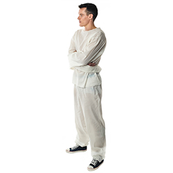 Side Facing White Straight Jacket Outfit