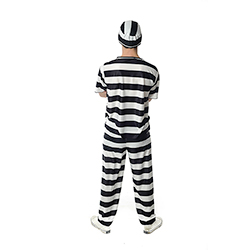 The prisoner in his convict outfit