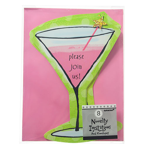 Cocktail Glass Invitations On Card