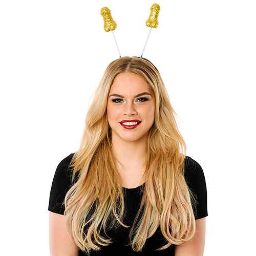 Model Wearing Gold Willy Boppers