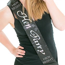The model is very happy with her sash