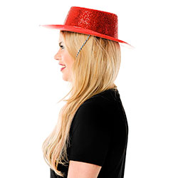 Side View Of Red Glitter Cowboy Hat With Chin Cord