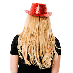 Back View Of Red Glitter Cowboy Hat With Chin Cord