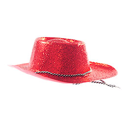 Prodcut Shot Red Glitter Cowboy Hat With Chin Cord