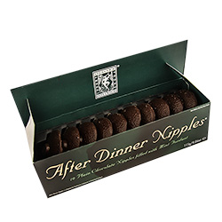Open Box Revealing Novelty After Dinner Chocolate Nipples