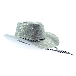 Front Facing Model Image Glitter Cowboy Hat in Silver