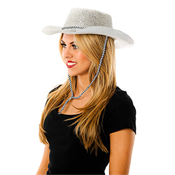 Side Facing Model Image Glitter Cowboy Hat in Silver