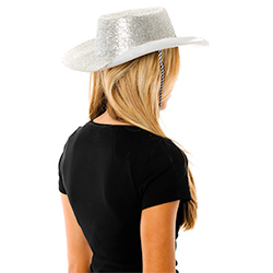 Side Back Facing Model Image Glitter Cowboy Hat in Silver