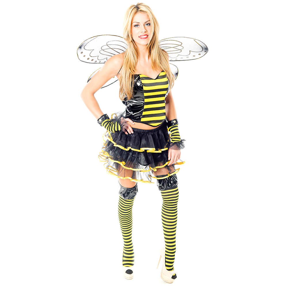Sexy Bumble Bee Costume In Front Of White Background