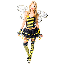 Model Wearing Sexy Bumble Bee Costume