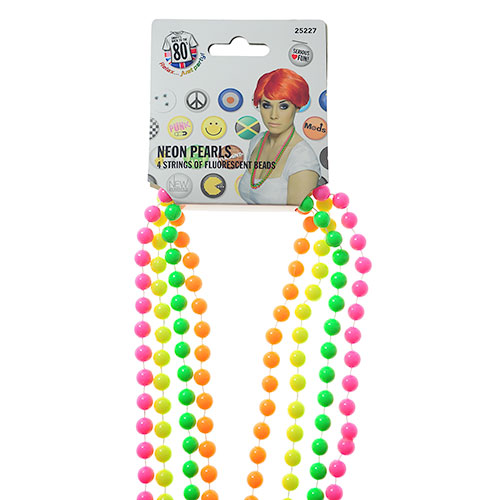 Neon Beaded Necklace And Packaging