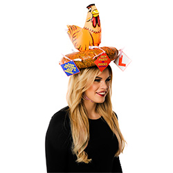 Inflatable Hen Hat With Novelties Side View