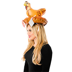 Model Wearing Inflatable Hen Hat With Novelties Side View