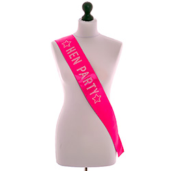 Hot Pink Diamante Hen Party Sash