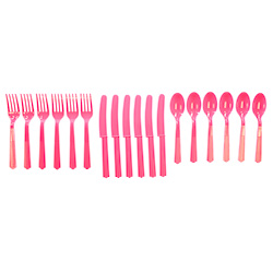 Pink Plastic Cutlery Set On White Background
