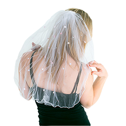 White Comb Veil With Stars Stretched Out