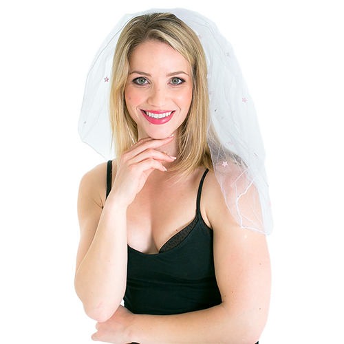 White Comb Veil With Stars On White Background