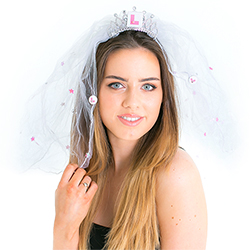 Hen Night Veil With L Plate In Front Of White Background