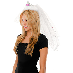 Tiara & Veil With White Trim