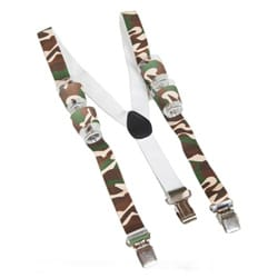 A pair of camouflage braces with shot glasses in