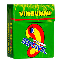 A green box of Spunk sweets
