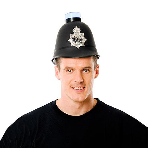 Police Helmet with Blue Flashing Light