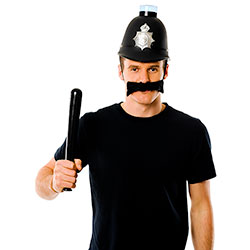 Man in Police Helmet with moustache and truncheon