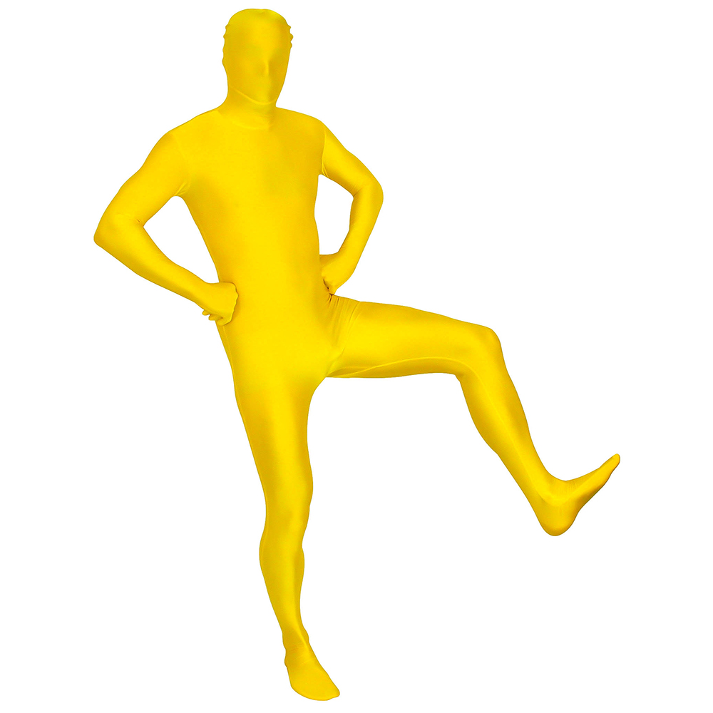 In a Morphsuit with his left foot in the air