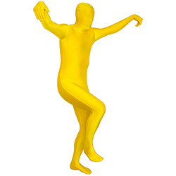 He has his arms in the air in his yellow Morphsuit
