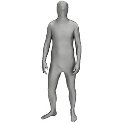 Silver Morphsuit In Front Of White Backgrund