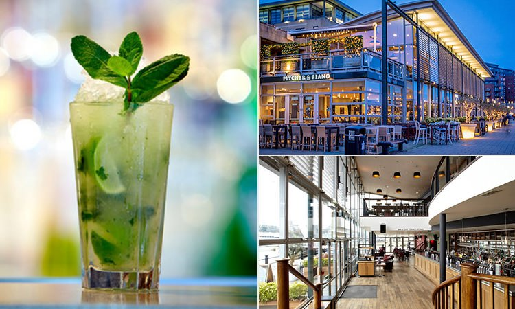 Three images of Pitcher and Piano, Newcastle - one of a mojito, one of the exterior and one of the bar and seating area