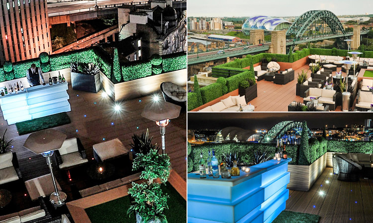 Three tiled images of the Sky Lounge, Newcastle - including one of the bar, and the rooftop garden at day, and night