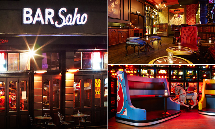 Three tiled images of Bar Soho, London - featuring exterior and interior images of the venue