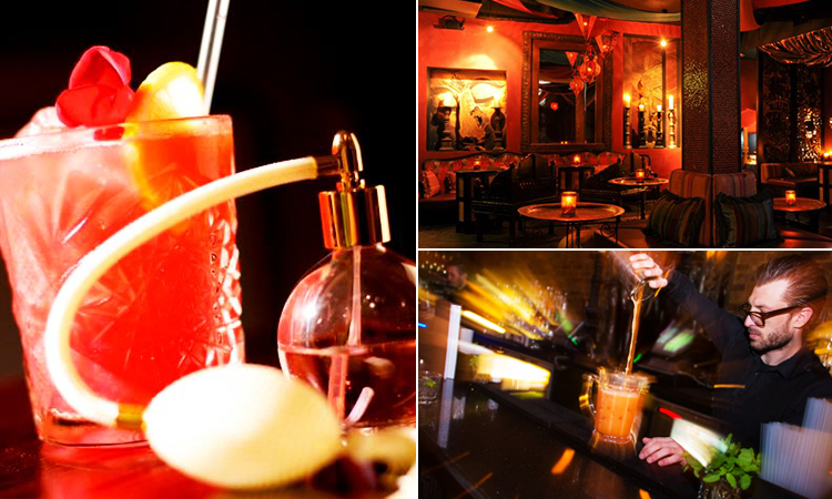 Three images of Jewel Piccadilly - featuring an image of a cocktail, a bartender pouring a cocktail and the interior of the venue