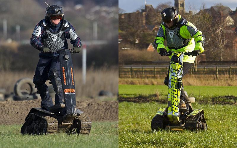 Split image of two men driving DTV Shredders in muddy fields