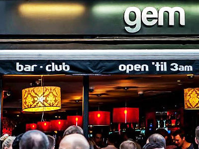 Exterior of GEM nightclub bar, London