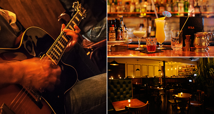Three tiled images, one of the interiors of NOLA, one of a range of cocktails and one of a guitar being played