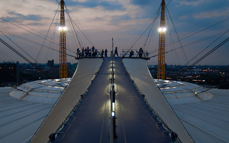 The O2 Arena walkway at dusk