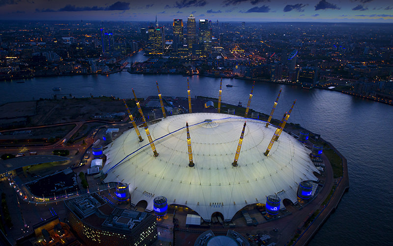 Birds eye view of The O2 Arena at dusk