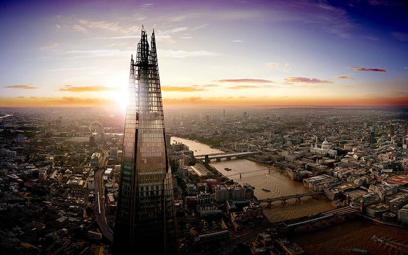 The Shard with the backdrop of London's skyline