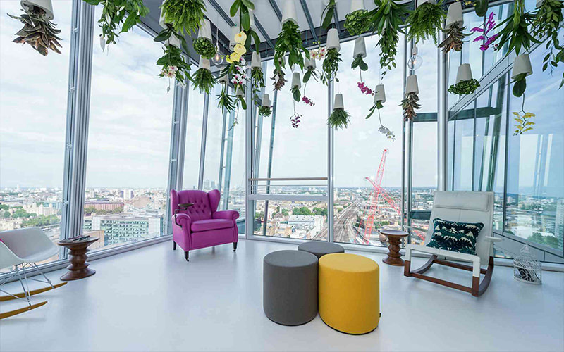 A room inside The Shard, overlooking London skyline