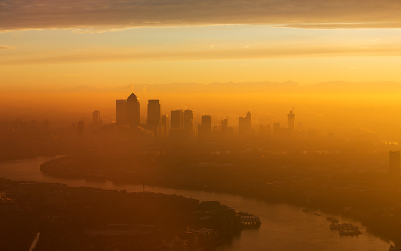 The London skyline at sunset