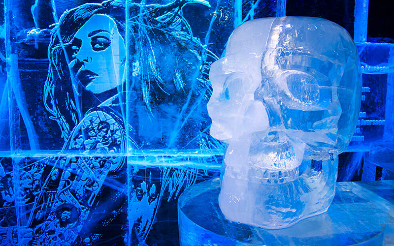 A skull made of ice in ICEBAR, London