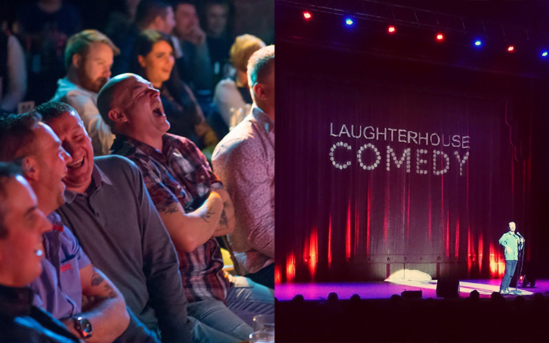 Split image of men laughing and a man on stage
