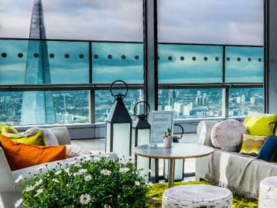 A table and sofas in Sky Garden, London