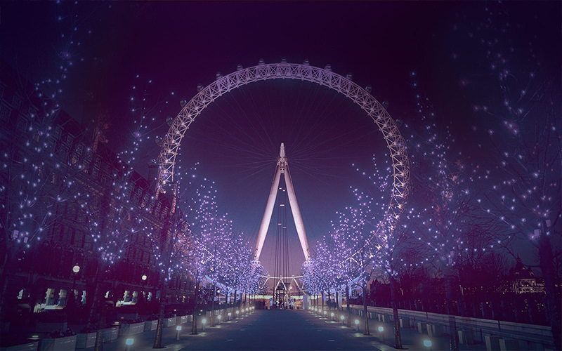 The London Eye lit up white at night