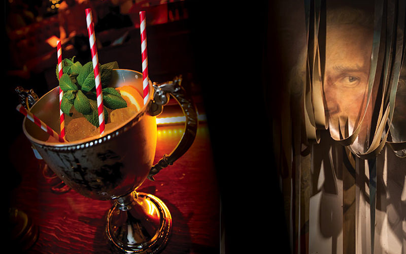 Split image of a drink in a silver chalice and a man on the wall with ropes in front of face