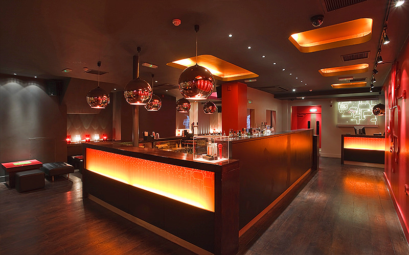 Contemporary Retro bar at Lucky Voice in Soho, London