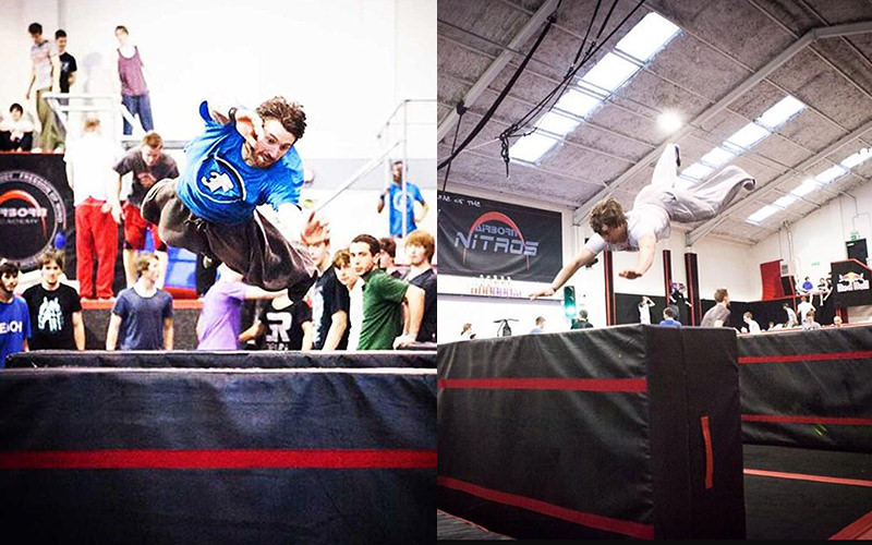 A split image of two men jumping over crash mats